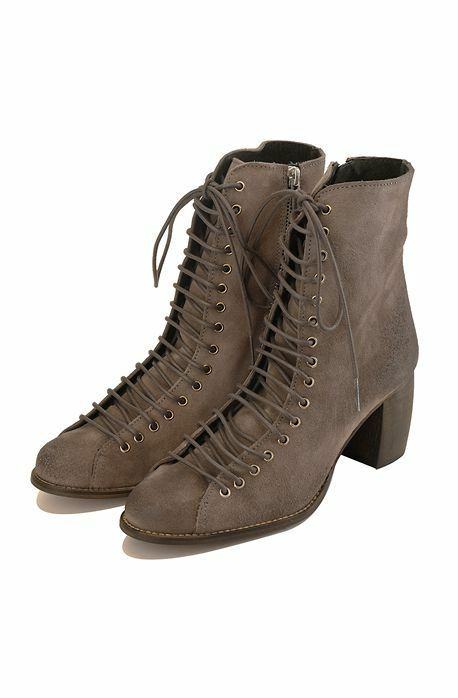 New Jeffrey Campbell 3589-KI Grey Distressed Suede Heel Boots 7.5