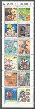 GREETINGS, CARTOONS ON FRANCE 1993 Scott 2394bc PANE OF 12 DIFF. STAMPS, MNH