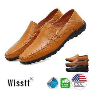 Men-039-s-Leather-Casual-Slip-On-Shoes-Flat-Breathable-Antiskid-Loafers-Moccasins-US
