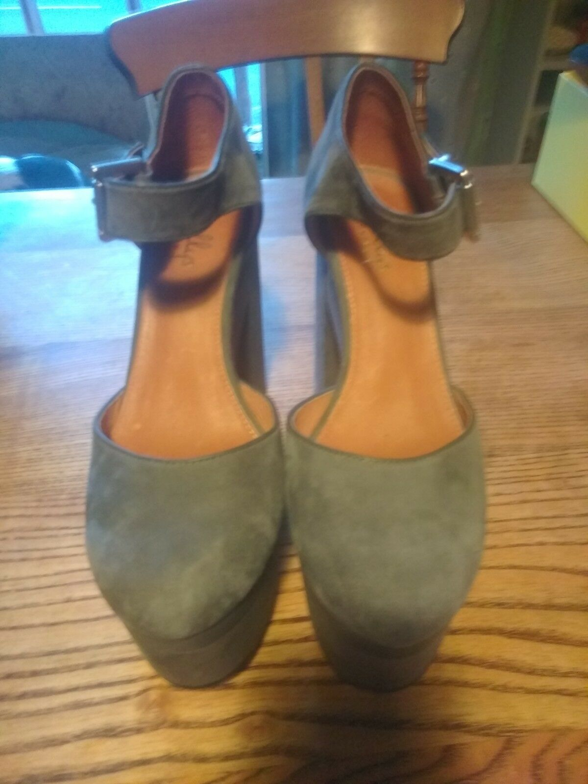 Shellys London Soft Grey Suede Platform Heels Mary Jane shoes Size 5 38