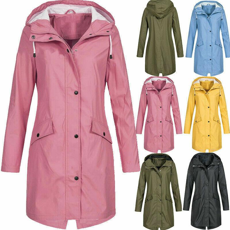 UK New Womens Coat Raincoat Ladies Outdoor Wind Rain Forest Jacket Coat S-5XL