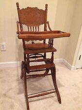 Antique wood high chair rocker