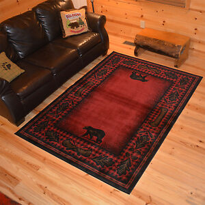 Lodge-Cabin-Bear-Canoe-Red-Area-Rug-FREE-SHIPPING
