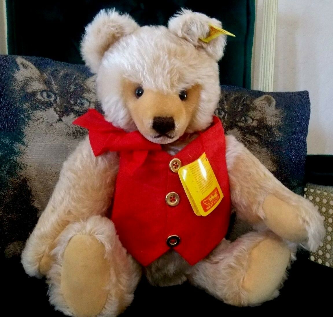 VINTAGE STEIFF TEDDY BEAR 14  BLOND-BUTTON LABEL 0201/41-rosso VEST C1