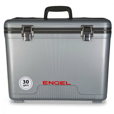 Engel Coolers 30 Quart 48 Can Lightweight Insulated Mobile Cooler Drybox, Silver