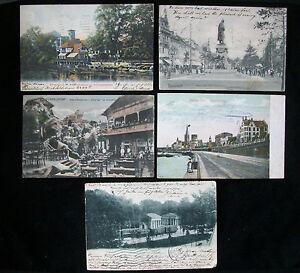 5-German-Postcards-Dusseldorf-Germany-Postmarked-1905-1906-Used-With-Handwriting