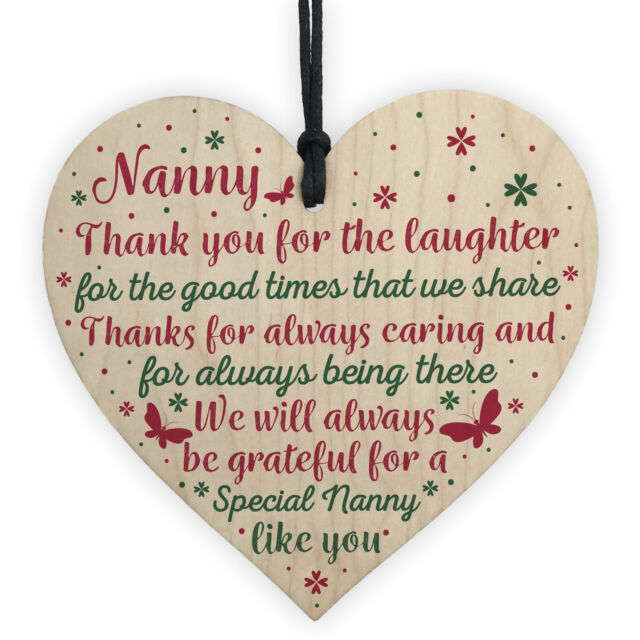 Nanny Gifts For Christmas Heart Thank You Nan Birthday Gift Grandparents Plaque