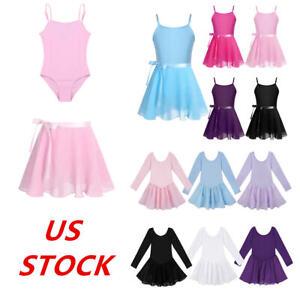 US-Girls-Gymnastics-Ballet-Dance-Leotard-Dress-Kids-Tutu-Skirt-Skating-Costumes