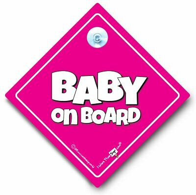 NEW Personalised Plain  PINK GRANDCHILD  Baby on Board Car Window Sign