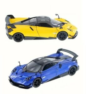 Set-of-2-Kinsmart-1-38-Scale-2016-Pagani-Huayra-BC-Diecast-Model-Toy-Blue-yellow