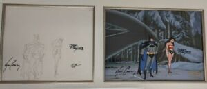 JLA-Original-Production-Cel-w-Drawing-Batman-Wonder-Woman-Triple-Signed