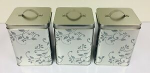 Silver-Mirror-Effect-Floral-Modern-Style-Tea-Coffee-Sugar-Canister-Set-Modern