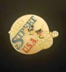Disney-Main-Street-USA-Mickey-Mouse-Bicycle-Enameled-Vintage-Pin