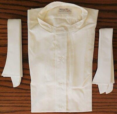 Mens bespoke tunic shirt Woods & Brown UNUSED vintage 1970s ivory 2 collars