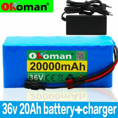 Charger 36V 20AH Li-ion Battery Volt Rechargeable Bicycle Ebike Electric Li-ion