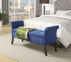 Details about Upholstered Storage Bench Bedroom Seat Tufted Wood Backless  Armrest Hallway Blue