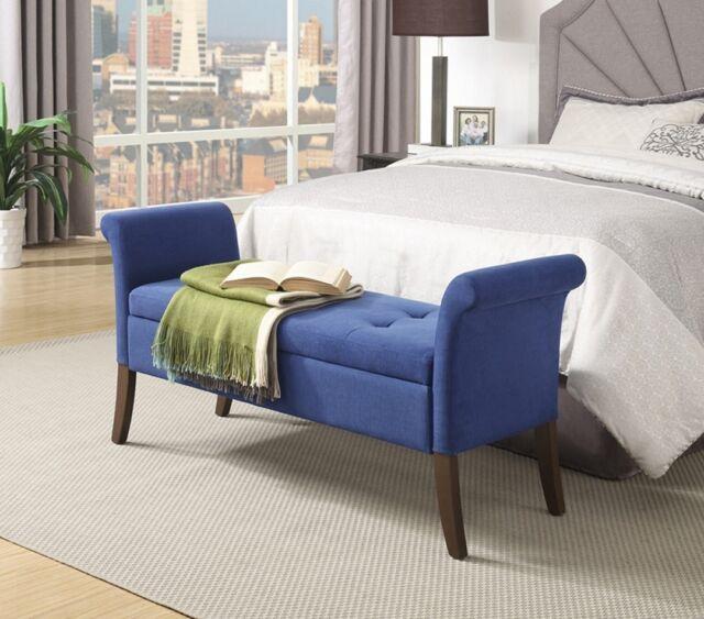 Upholstered Storage Bench Bedroom Seat Tufted Wood Backless Armrest Hallway  Blue