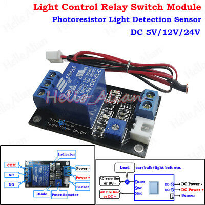 DC 12V Photoresistor Relay Module Light Detection Sensor Light Control Switch