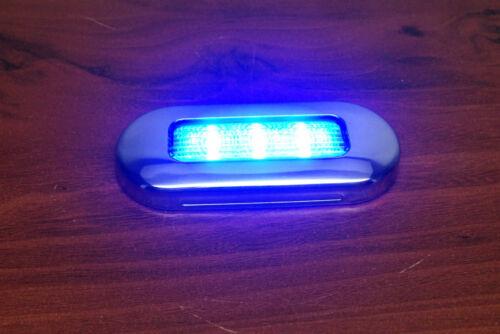 """# RV MARINE BOAT TRAILER LED BLUE OBLONG SHAPE COURTESY LIGHT 3/""""BY1.25/"""" S.S RIM"""