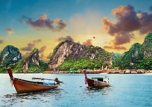 A1-Phuket-Thailand-Poster-Art-Print-60-x-90cm-180gsm-Boats-Travel-Gift-16437