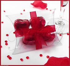 20 x favore OPACO IN PLASTICA PVC SCATOLA MATRIMONIO, caramelle, confezione regalo cuscino