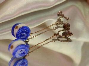 Neat-O-Vintage-1940-039-s-Modernist-Cobalt-Blue-Art-Glass-Screw-Back-Earrings-131S