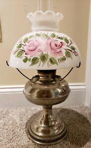Antique-1905-RAYO-Socony-Victorian-Nickel-GWTW-Kerosene-Oil-Table-Lamp-w-Shade