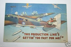 WOW-WWII-USAF-Post-Card-Air-Force-Gunner-Pilot-Bomber-Production-Painter-RARE