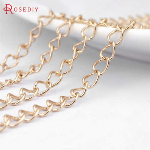 2 meters 3.1MM Quality Gold Color Copper Extended Chain Link Chains 31197