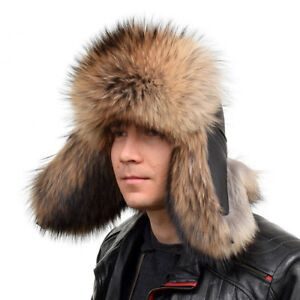 2dd9c4b1c93 Genuine Men s Raccoon Fur Ushanka Hat I Warm Winter Ski Cap Real Fur ...
