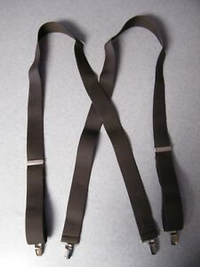 Solid-Color-Brown-54-inch-Strong-Jaw-Clips-clamp-on-suspenders-1-5-inch-wide