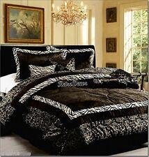 Safari Zebra Animal Print Comforter Set Black White King 7 Piece Bed Room Decor