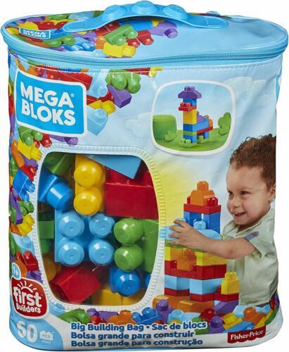 ✅ Mega Bloks Kids ✅ First Builders Big Lego Building Bag Fisher-Price 60 Blocks✅