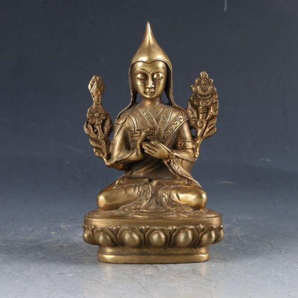 Chinese Cloisonne Handwork Carved Tibetan Buddha Statue