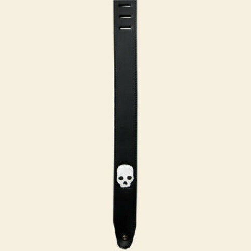 "BRAND NEW 2.5"" COLONIAL LEATHER SKULL INLAY - SUEDE BACK GUITAR STRAP SOSI-01"