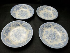 4-Royal-Stafford-Powder-Blue-amp-White-Asiatic-Pheasant-Cereal-Soup-Bowls-EUC