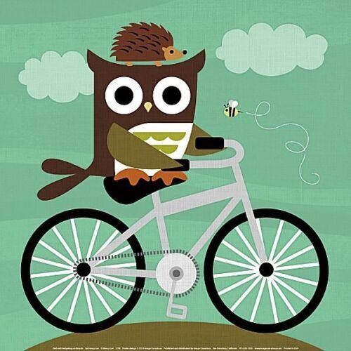 BIRD ART PRINT Owl and Hedgehog on Bicycle Nancy Lee 12x12 Image Conscious