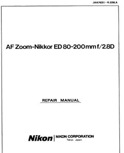 Nikon-AF-Nikkor-80-200mm-f-2-8-D-ED-Service-Repair-Manual-Parts-List