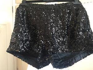 completamente paillettes di 10 Topshop nuovo 2260586563100 taglia foderati neri Pantaloncini mai indossato xYTwCZWaqw
