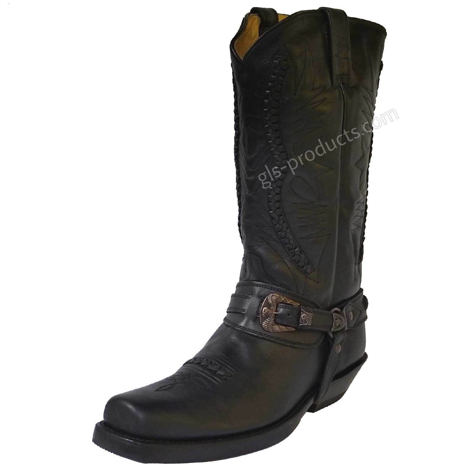 Rancho 9064 New Original Biker Boots Cowboy Style Black genuine leather handmade
