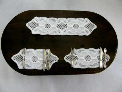 """Lot TWO Miniature Dollhouse Artisan Crochet Style Lace Doily 2.5/"""" Table Runner"""