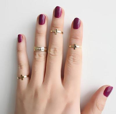 4pcs Fashion Women's Metall Gold Leaf Above Knuckle Finger Ring Set TIAU
