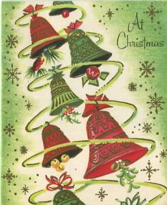 VINTAGE CHRISTMAS ART NOUVEAU RINGING BELLS GREEN WHITE RED MISTLETOE ART CARD