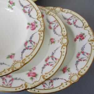 Set-6-Antique-TIFFANY-amp-Co-MINTON-Porcelain-9-034-Bowls-SWAGS-Wreaths-ROSES-FMNs