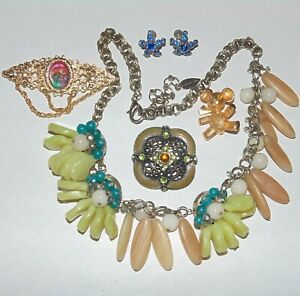 Vintage-to-Now-costume-jewelry-lot-of-5-Coldwater-Creek-necklace-rhinestones