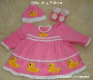 Baby Duck Hat Knitting Pattern : Cute Duck Ducky Dress Hat & Booties Knitting Pattern - Reborn / 0-3 / 6/9...
