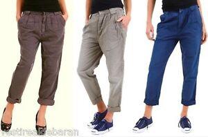 Pantaloni-Donna-Misto-Lino-SEXY-WOMAN-B311-Marrone-Grigio-Blu-XS-S-M-veste