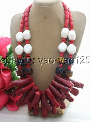 """red Coral tigers eye white porcelian necklace 20/"""""""