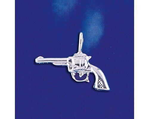Six Shooter Handgun Revolver Gun 3D .925 Solid Sterling Silver Charm Pendant
