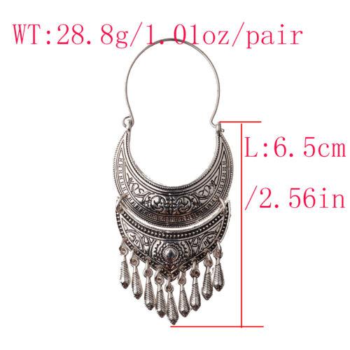 Vintage Women/'s Gold//Silver Bohemian Boho Style Tibetan Carved Hook Earrings